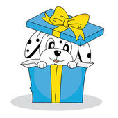 Dalmatian Dog in a gift pack — ストックベクタ