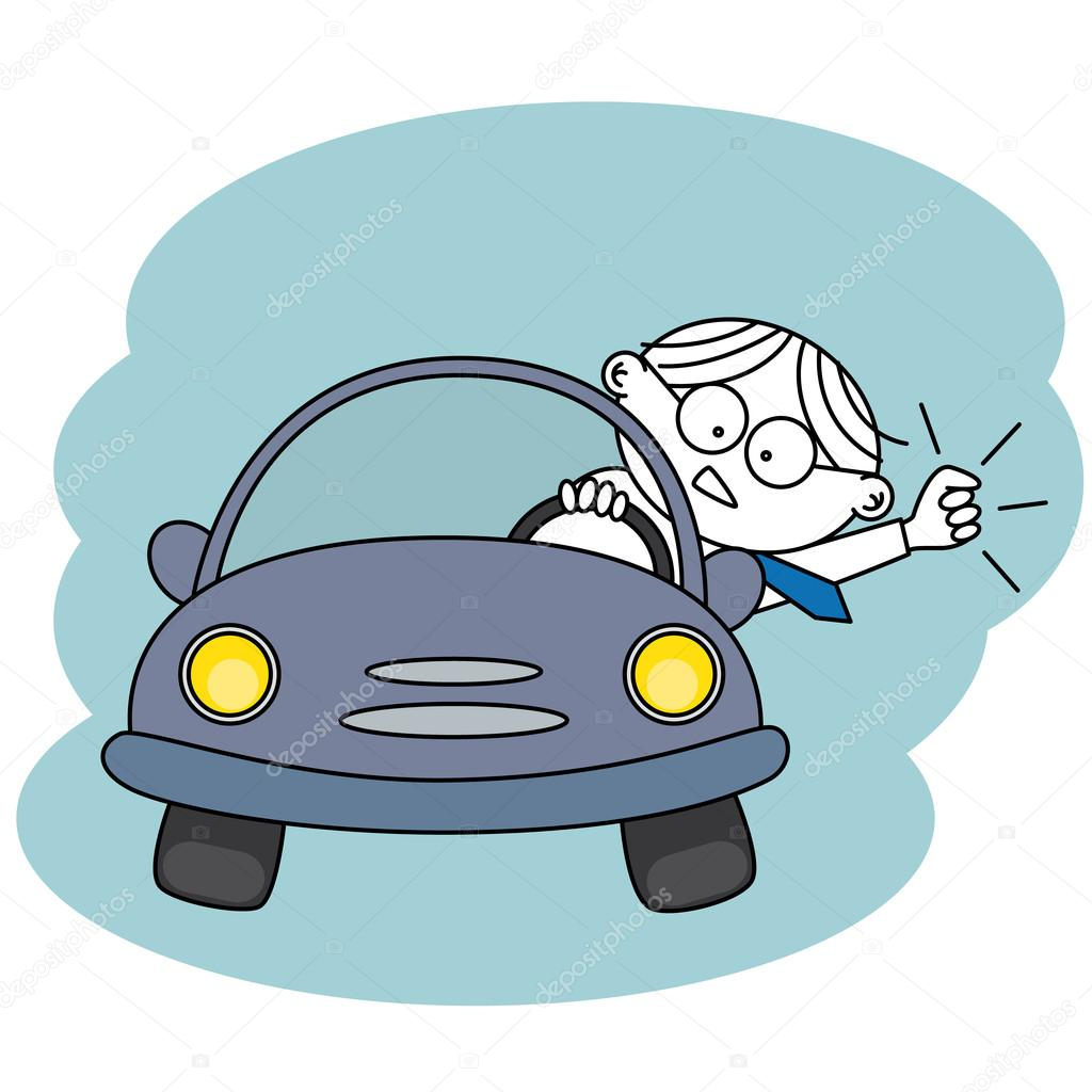 Angry man in his car — Stock Vector #13210559
