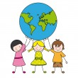 Children holding the globe — Stock Vector