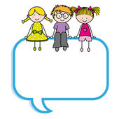 Children sitting in a speech bubble — Stock Vector