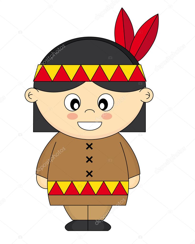 Children dressed as American Indian — Stock Vector #13624903