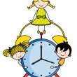 Children with an alarm clock — Stock Vector