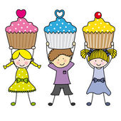 Children with cupcakes — Stock Vector