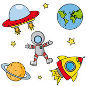 Icons on space — Stock Vector