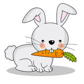 Cute rabbit eating a carrot — Stock Vector