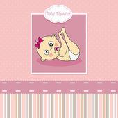 Bebek kız duyuru kart — Stok Vektör