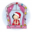 Girl dressed as santa — Stock Vector