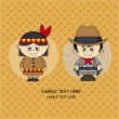 Children dressed in cowboy and Indian — Stock Vector