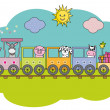 Children's train with farm animals — Stock Vector