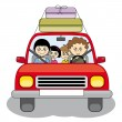 Family goes on vacation in your car - Stock Vector