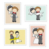 Stamps just married — Stock Vector