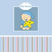 Baby boy arrival announcement card — Vecteur