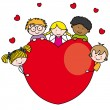 Group of children with a heart - Imagen vectorial
