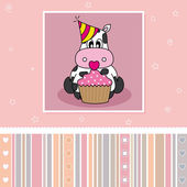 Cow with a cupcake — Stock Vector