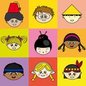Children of different ethnicities — Stock Vector