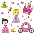 Vector illustration of princess design elements. - Image vectorielle