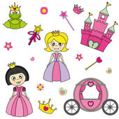 Vector illustration of princess design elements. — Stock Vector
