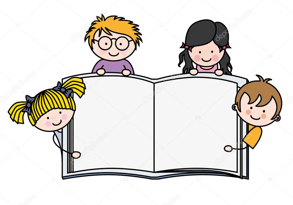 Children with a book with blank pages — Stock Vector ...