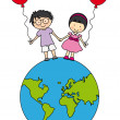 Royalty-Free Stock Vector Image: Children walking on the globe