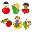 Stock Vector: Children with fruits