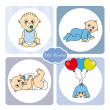 Stock Vector: Baby boy arrival announcement card