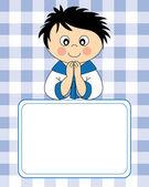 Première carte d'invitation de communion. garçon — Vecteur