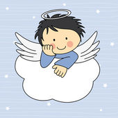 Angel wings on a cloud — Stock Vector