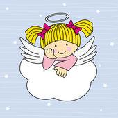 Ali d'angelo su una nuvola — Vettoriale Stock