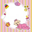 Stock Vector: Frame baby girl