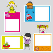 Children's picture frame for girl and boy — Vettoriale Stock