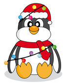 Penguin with christmas lights — Stock Vector
