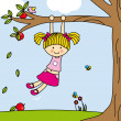 Girl playing on a tree swing — Stock Vector