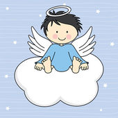 Angel wings on a cloud. — Stock Vector