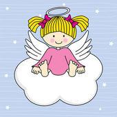 雲の上の天使の翼. — ストックベクタ