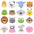 Set animales face — Stock Vector #28686251