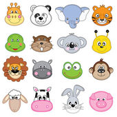 Set animales face — Stock Vector