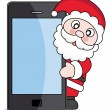 Santa Claus with mobile phone — Stock Vector