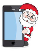 Santa Claus with mobile phone — Stok Vektör