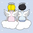 Angels sitting above the clouds  — Stock Vector