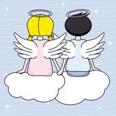 Engelen zitten boven de wolken — Stockvector