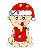 Baby dressed as santa claus — Vettoriale Stock
