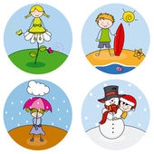 Children showing the four seasons — Stock Vector