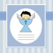 Angel in the holy grail — Stock Vector