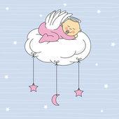 Baby boy gekleidete engel schlafend auf einer wolke — Stockvektor