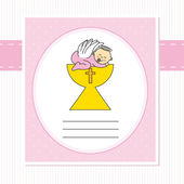 Baby girl in the holy grail — Stock Vector