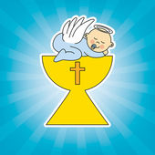 Baby boy in the holy grail — Stock Vector