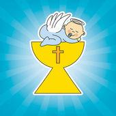 Niño en el santo grial — Vector de stock