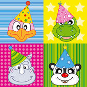 Cartoon party animal icons collection — Stock Vector
