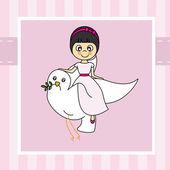 Girl flying with a dove — Stock Vector
