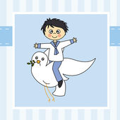 Boy flying with a dove — Stock Vector